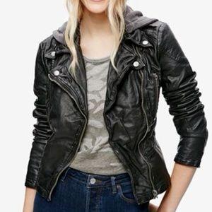 Women's Free People Faux Leather Moto Jacket Sz 10